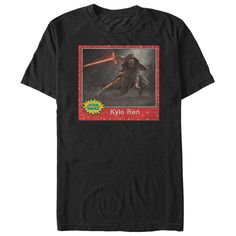 Join the Dark Side with the Star Wars Kylo Ren Trading Card Black T-Shirt. A distressed print on the front of this cool black Kylo Ren T-shirt features a vintage-style trading card with Kylo Ren and his infamous lightsaber.