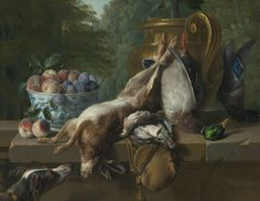 Alexandre-François Desportes (Champigneulle, Ardennes 1661 - 1743 Paris), Still life of game with a bowl of plums and peaches