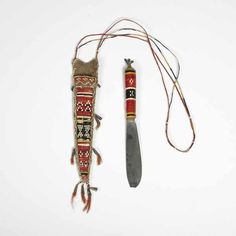Native American Indian artifact from the Warnock collection - Iroquois - Mohawk type Knife-Knife Case