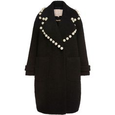 Maria Lucia Hohan Dustine Pearl Embellished Oversized Coat ($1,615) ❤ liked on Polyvore featuring outerwear, coats, collar coat, oversized coat, embellished coat and oversized collar coat