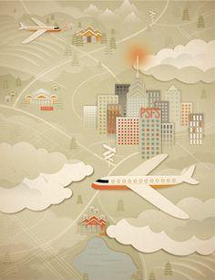 Jessica Hische, illustration,City, airplanes,clouds