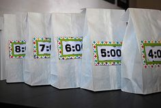 I love this idea from my friend's blog...a New Year's Eve party she did for her little family. Countdown bags for the kids to open each hour with a checklist of fun things inside it!
