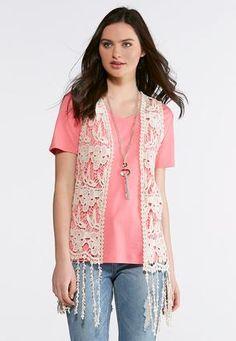 58721fe94c5 Cato Fashions Crochet Fringe Vest  CatoFashions Fringe Vest