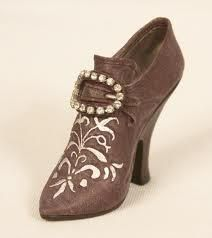 Miniature Replica of 18th Century shoe. Bordeaux - circa France 1740s  Lucinda Brant's Just the Right Shoe Co Collection