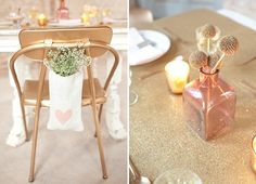 the sparkley table top on the right is cool. wonder if we could do a runner like that? Pink And Gold Dress, Pink Und Gold, Pink And Gold Wedding, Color Combinations, Champagne, Table Decorations, Inspiration, Party Ideas, Wedding Ideas