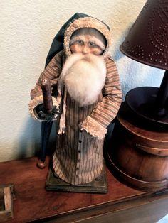 OOAK Handmade Primitive Santa by HeartFeltPrims on Etsy