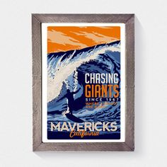 this is 100% original artwork Surfing Travel poster Mavericks california vintage retro hand screen printed 3 color design. • ARTWORK SIZE IS 12X18 • PRINTED ON WHITE HEAVY COLD PRESSED ARTBOARD (VERY THICK) • LIMITED RUN OF 50 PRINTS SIGNED AND NUMBERED!   NEED IT FRAMED? Check out my real beach wood frames here! perfect for any screen print! https://www.etsy.com/listing/187879338/real-beach-wood-frame-16-x-22?ref=shop_home_active_6  *Watermark does not appear on actual print.*