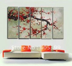 Free shipping ,5PCS  Modern Abstract Oil Painting on Canvas ,Chinese Flower Oil Painting JYJLV204 on AliExpress.com. $85.20