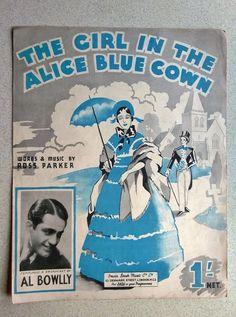 1938 UKULELE  PIANO ACC GUITAR BANJO SHEET MUSIC  - GIRL IN THE ALICE BLUE GOWN Banjo, Ukulele, Guitar, Denmark Street, Alice Blue, Vintage Sheet Music, Blue Gown, Music Songs, Iris