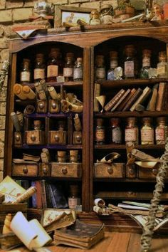 An old and shabby apothecary cabinet to mix up your magic potions. Hogwarts, Cabinet Of Curiosities, Witch House, Witch Cottage, Witch Aesthetic, Witchcraft, Dollhouse Miniatures, Barbie Miniatures, Herbalism