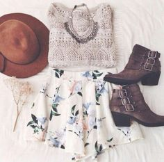 Tan Sweater and Floral Skirt with Brown Ankle Boots and Silver Statement Necklace