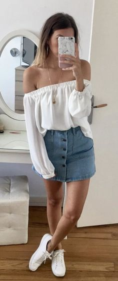 #summer #outfits White Off The Shoulder Blouse + Denim Skirt + White Sneakers