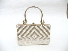 Vintage 60s Geometric White Woven Framed by SophistiFunkVintage