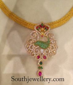 30 grams gold chains with cz's pendants by Premraj Shantilal Jain Jewellers. For price inquiries contact: dharmesh25@yahoo.com