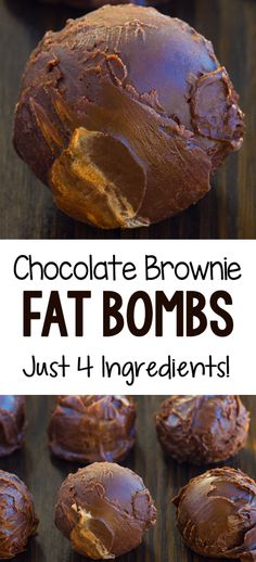 These healthy 4 ingredient chocolate keto brownie bombs are dangerously delicious! Low carb recipe that can be vegan These healthy 4 ingredient chocolate keto brownie bombs are dangerously delicious! Low carb recipe that can be vegan Brownies Cétoniques, Chocolate Brownies, Dessert Chocolate, Chocolate Truffles, Chocolate Ganache, Low Fat Brownies, Chocolate Chips, Chocolate Fat Bombs, Chocolate Recipes