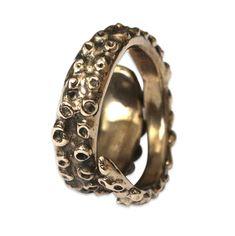 Octopus Tentacle Ring in Solid Bronze Octopus Tentacle von mrd74