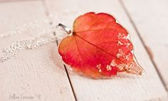 Vibrant Pink/Red and Orange Ivy Leaf Resin Pendant by ResinRoad, €18.00