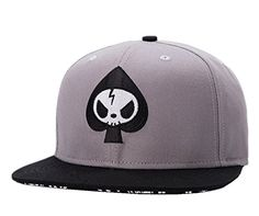 1cab8e2282a07 Unisex Mens Skull Embroidery Fitted Flat Bill Hats Cool Snapback Hip Hop Cap  Forwardor http