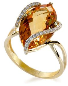 14K Yellow Gold Citrine and Diamond Ring, 6.29 TCW