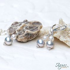 Dew Drops Necklace and Earrings in Sterling by AgnesCreative, $69.00