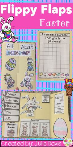 Easter Flippy Flaps!  This is a great way to get your students learning about Easter and Bunnies in a fun hands-on interactive way! Your students will be engaged and learn about Easter and Rabbits in many different ways!  Activities included:  - All About Bunnies - All About Easter - Label Bunny - Easter Word/Picture Match - Easter KWL - Bunnies can/have/are - Easter Adjectives - Easter Facts - Easter Traditions Around the World - If I was the Easter Bunny... writing prompt - Easter Family