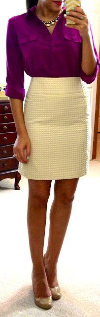 blouse + textured skirt