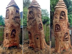 Tree Stump Carving of Fairies | Fairy Tree House in Esher by Ella Fielding