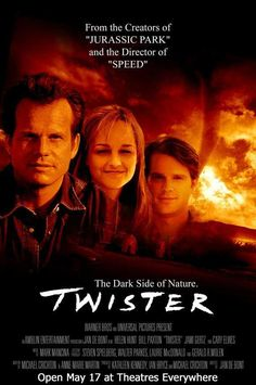 """Twister"" is a 1996 American disaster/drama film starring Bill Paxton as Bill Harding, Helen Hunt as Jo Harding and Cary Elwes as Jonas Miller as storm chasers researching tornadoes. ""I've gotta go, we've got cows. 90s Movies, Great Movies, Watch Movies, Love Movie, Movie Tv, Movies Showing, Movies And Tv Shows, Jurassic World, Twister 1996"