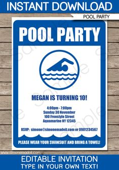 pool party printable invitations | Pool Party Invitations | Swimming Party | Birthday Party | Editable ...