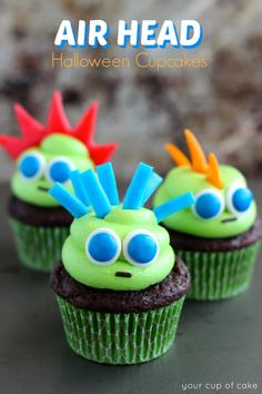Air Head Monster Cupcakes for Halloween!