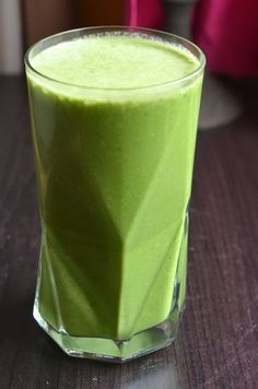 No-Sugar Kale & Coconut Shake by Always Order Dessert. Made with kale, coconut & fresh ginger--absolutely NO added sugar or fruit. #lowcarb #paleo #smoothie