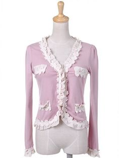 Anna-Kaci S/M Fit Light Pink Girly Daisy Chain White Ruffle Cardigan Sweater Anna-Kaci. $24.90