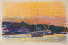 """Evening at Deer Isle,"" Wolf Kahn, 1967, pastel on paper, Memorial Art Gallery of the University of Rochester."