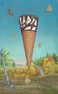 """""""Sundance Drumstick"""" 2012 by Kent Christensen. Oil on panel 32 x 20 in / 81 x 51 cm. Ice Cream Painting, Dynamic Painting, Ice Cream Illustration, New Gods, Food Illustrations, Frozen Treats, Fine Art Gallery, Beautiful Paintings, Junk Food"""