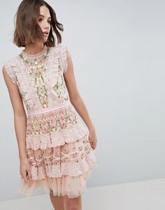 52171a146d05fa Needle   Thread High Neck Layered Mini Dress With Embroidery