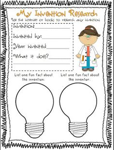 Easy Invention research project (great for 1st grade). Maybe use to promote invention part of World Book