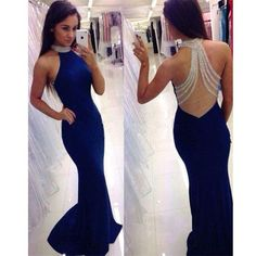 Beaded See Through Back Royal Blue High Neck Mermaid Long Prom Dress