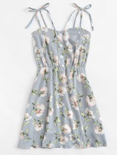 Shop Floral Print Single Breasted Cami Dress at ROMWE, discover more fashion styles online. Cute Teen Outfits, Teen Fashion Outfits, Cute Summer Outfits, Look Fashion, Pretty Outfits, Pretty Dresses, Stylish Outfits, Spring Outfits, Cool Outfits