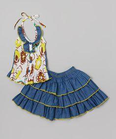 Another great find on #zulily! Yellow Floral Halter Top & Tiered Denim Skirt - Toddler & Girls #zulilyfinds