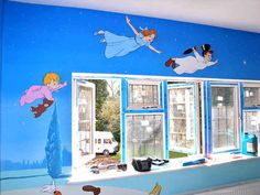 Wall mural, peter pan characters by the window <3 it!