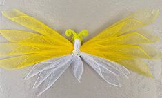 Butterfly Baby Shower, White Butterfly, Angel Decor, Butterfly Decorations, Paper Butterflies, Mesh Ribbon, Button Flowers, Wreath Crafts, Deco Mesh Wreaths