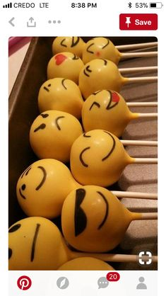 Check out these awesome emoji party ideas for birthdays and baby showers. 11th Birthday, Birthday Parties, Birthday Cake Pops, Birthday Ideas, Emoji Cake Pops, Emoji Food, Party Mottos, Oatmeal Cream Pies, Savoury Cake