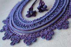 https://flic.kr/p/jkWNFL | Purple Lace - Calceolaria Arachnoidea ... Beaded Crochet Necklace by irregularexpressions