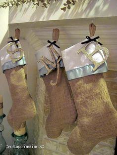 DIY christmas decor, DIY stockings-- minus the burlap Christmas Mantels, Noel Christmas, Merry Little Christmas, Christmas Projects, Winter Christmas, Holiday Crafts, Holiday Fun, Christmas Decorations, Elegant Christmas