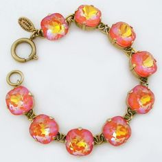 La Vie Parisienne Cushion Cut Swarovski Crystal Bracelet - Tangerine