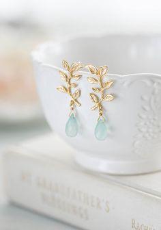 Gold Leaf Branch Aqua Blue Chalcedony Dangle Earrings Seafoam Green Natural Gemstone Earrings Post E Bridesmaid Earrings, Bridal Earrings, Gemstone Earrings, Crystal Earrings, Bridal Jewelry, Dangle Earrings, Leaf Earrings, Chandelier Earrings, Bridal Accessories