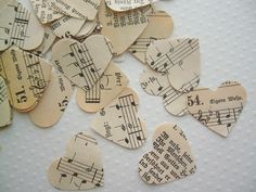 Vintage Wedding - Romantic Vintage Heart Confetti - We love these instead of petals down the aisle, but someone would have to clean them up if used outside.