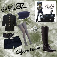 """Gorillaz - Cyborg Noodle Inspired Outfit"" by cutiepie312 on Polyvore"