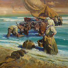 #sea #boat #people #art EUSTAQUIO SEGRELLES Marineros Oil