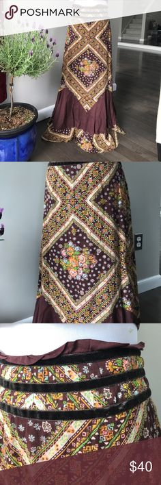 Free People Folk Bohemian Flower Child Skirt Gorgeous wild maxi skirt! Reminds me of a beautiful folky garden from the 60s. Beautiful neutral colors with hippie mandala type of design. Cute velvet stripes ribboned around the waist!! No damages. Good as new. Free People Skirts Maxi